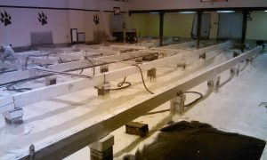West Roofing Systems using SPF to insulate a school's gym floor