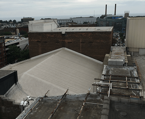spray foam roof on playhouse square