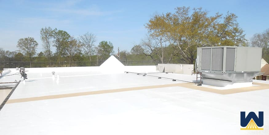 Silicone Restoration Membrane on a commercial roof