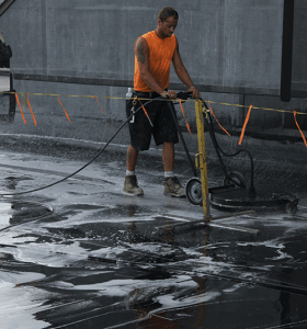 scrub washing rubber roof