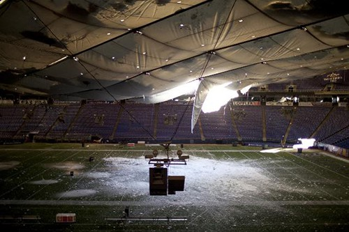 The Minneapolis Metrodome collapsed after having too much weight on its roof