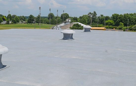 A completed spray polyurethane foam roof