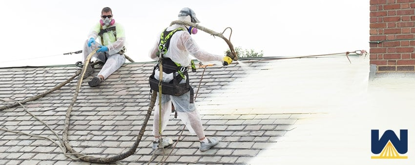 Spray foam roofing over a shingle roof