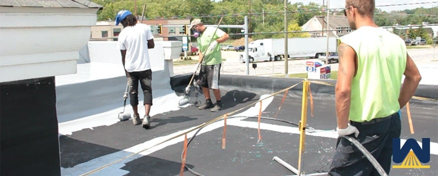 Elastomeric roof coating maintained