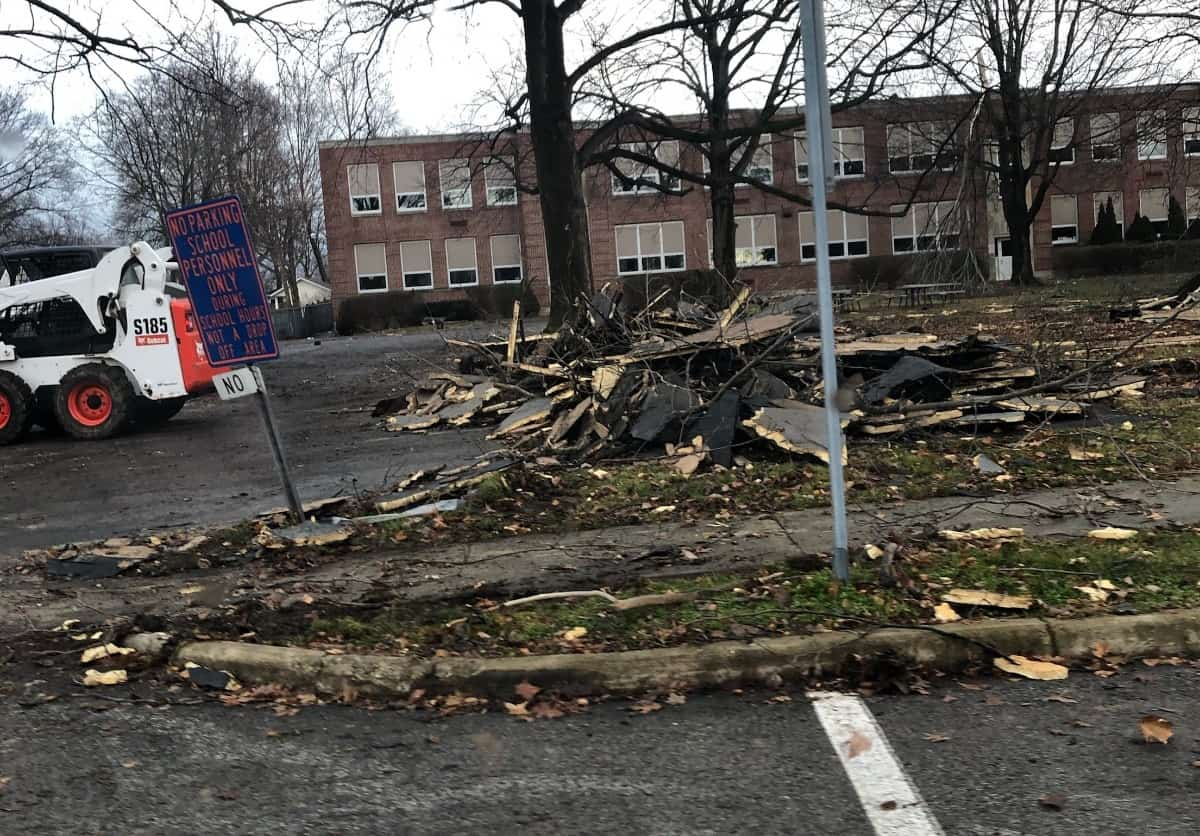 Roof on the ground at Edison Middle School