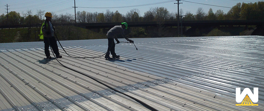 Elastomeric coating applied on a metal roof