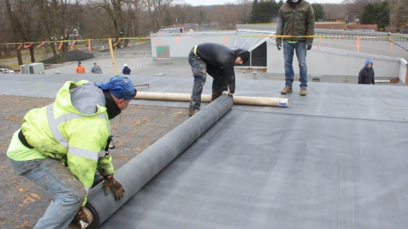 Temporary roof installed at Edison Middle School