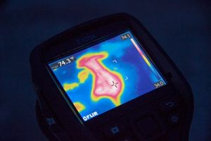 Infrared scan on a TPO roof