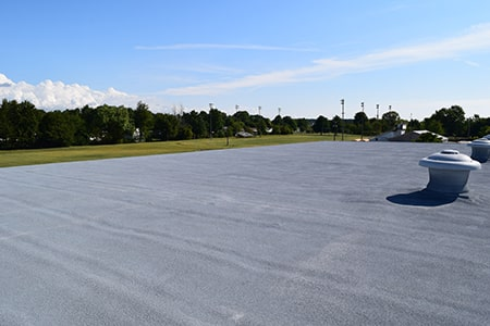 finished recoat on spray foam roof