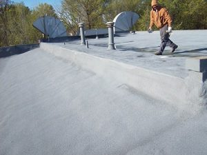 Completed spray foam roof at Parma Ice Rink