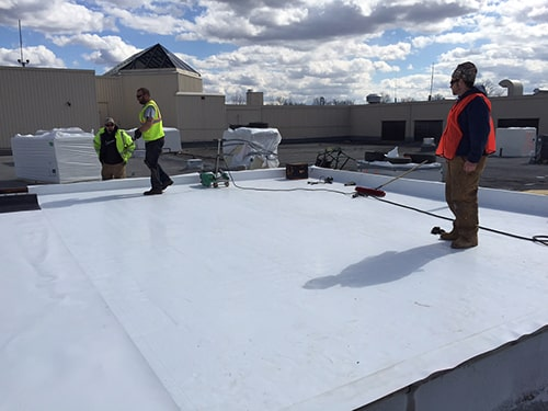 TPO roof on a commercial building