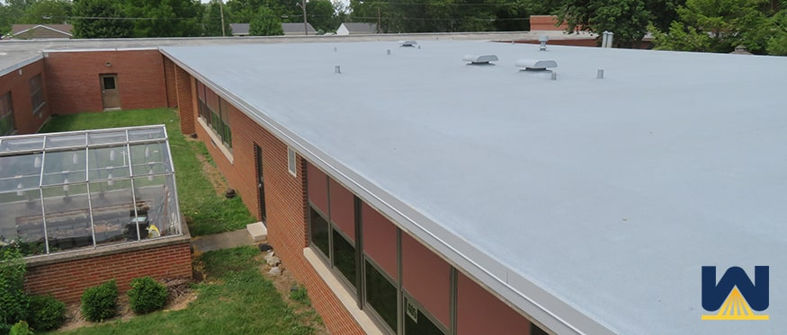 spray foam roof completed on a commercial building