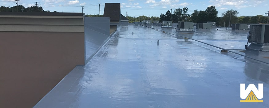 silicone coating on a commercial roof