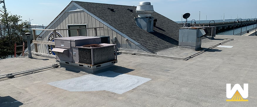 commercial roof repair on a restaurant