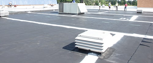 seams reinforced on a silicone coated roof