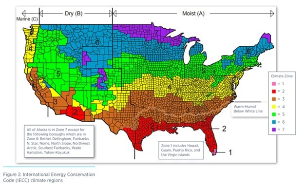 Map of USA with R-values for each zone
