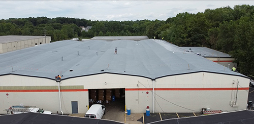 spray foam roofing system on commercial building
