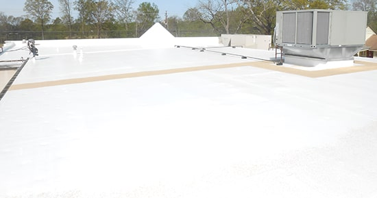 image of roof that had silicone installed on it