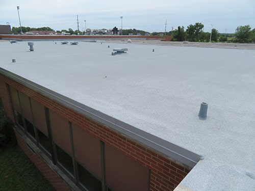 picture of a finished spray foam roof