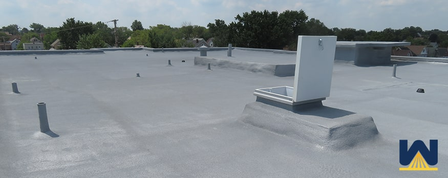 SPF - spray polyurethane foam on school roof