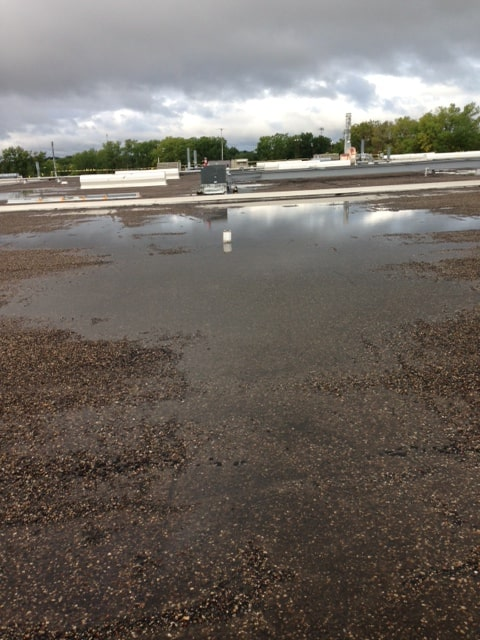 ponding water on a commercial roof