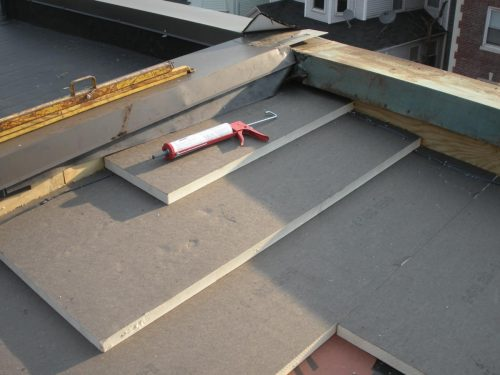 Tapered roof system on a commercial roof.