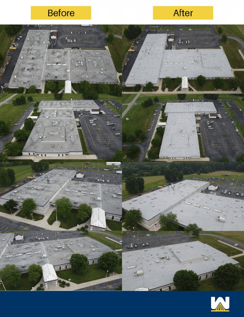 before and after photos of spray foam over granulated modified bitumen roof