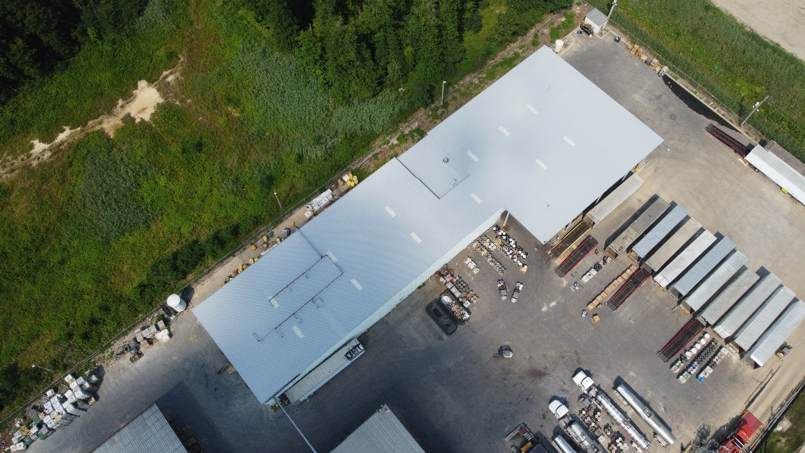 Photo of Chemtron which had a roof coating system installed over there metal roof in 2021.
