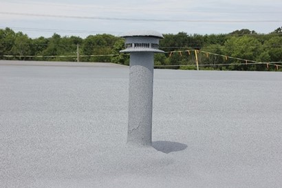 spray foam roof around a pipe or vent